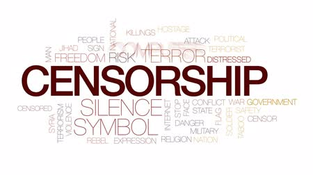 terrorismo : Censorship animated word cloud, text design animation. Kinetic typography.