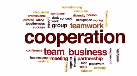 birlik : Cooperation animated word cloud, text design animation.
