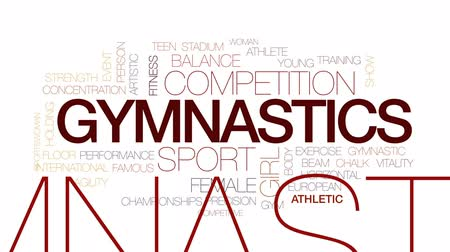 pisos : Gymnastics animated word cloud, text design animation. Kinetic typography.