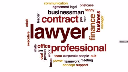 фокус : Lawyer animated word cloud, text design animation.