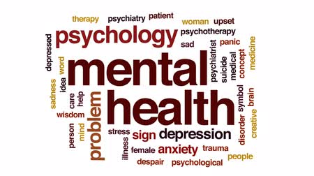 umysł : Mental health animated word cloud, text design animation. Wideo