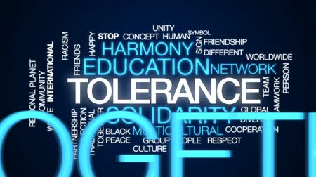 партнерство : Tolerance animated word cloud, text design animation.