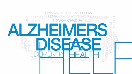 семидесятые годы : Alzheimers disease animated word cloud, text design animation. Kinetic typography. Стоковые видеозаписи