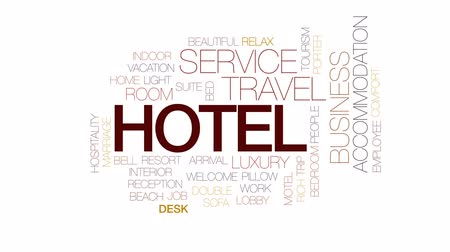 dvojitý : Hotel animated word cloud, text design animation. Kinetic typography.