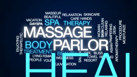 faíscas : Massage parlor animated word cloud, text design animation. Stock Footage