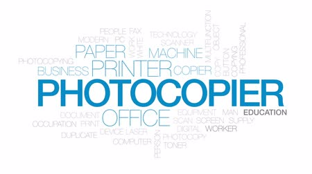impressão digital : Photocopier animated word cloud, text design animation. Kinetic typography. Stock Footage