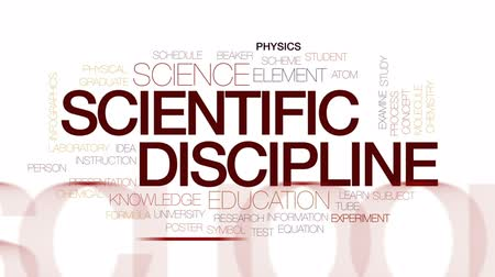 fegyelem : Scientific discipline animated word cloud, text design animation. Kinetic typography.