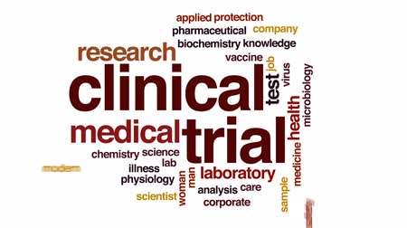 oncology : Clinical trial animated word cloud, text design animation. Stock Footage