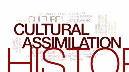 расширение : Cultural assimilation animated word cloud, text design animation. Kinetic typography. Стоковые видеозаписи