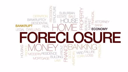 рецессия : Foreclosure animated word cloud, text design animation. Kinetic typography.