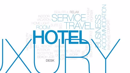 előcsarnok : Hotel animated word cloud, text design animation. Kinetic typography.