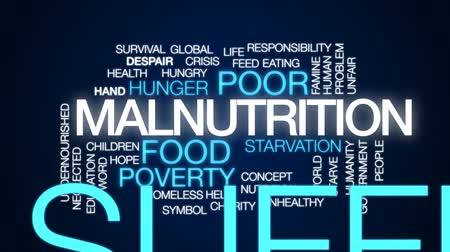 homeless : Malnutrition animated word cloud, text design animation. Stock Footage
