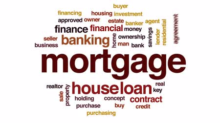 книгопечатание : Mortgage animated word cloud, text design animation.