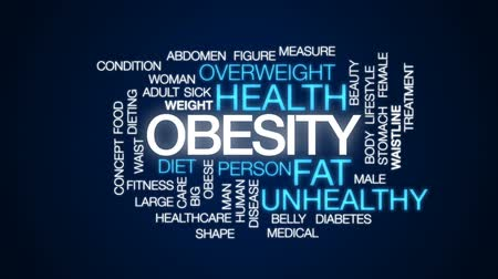 cukorbaj : Obesity animated word cloud, text design animation. Stock mozgókép