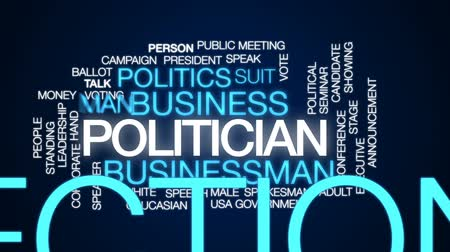 Politician animated word cloud, text design animation. Stock Footage
