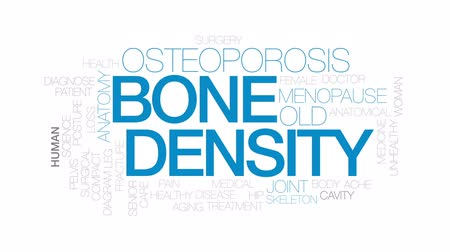 yoğunluk : Bone density animated word cloud, text design animation. Kinetic typography. Stok Video