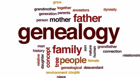 бабушка : Genealogy word cloud, text design animation. Стоковые видеозаписи