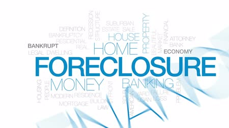 housing problems : Foreclosure animated word cloud, text design animation. Kinetic typography.