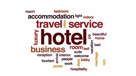 előcsarnok : Hotel animated word cloud, text design animation. Stock mozgókép