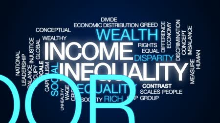 eşitlik : Income inequality animated word cloud, text design animation. Stok Video