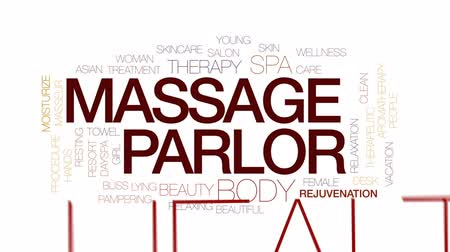 Massage parlor animated word cloud, text design animation. Kinetic typography.