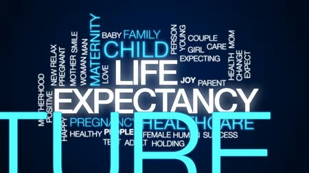 expectancy : Life expectancy animated word cloud, text design animation.