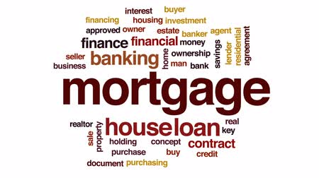 financování : Mortgage animated word cloud, text design animation.