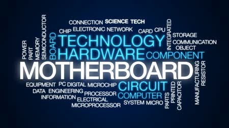 polovodič : Motherboard animated word cloud, text design animation.