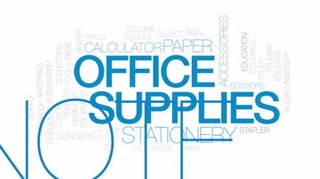 Office supplies animated word cloud, text design animation. Kinetic typography. Wideo