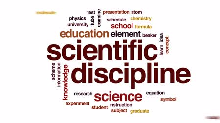 scientific : Scientific discipline animated word cloud, text design animation.