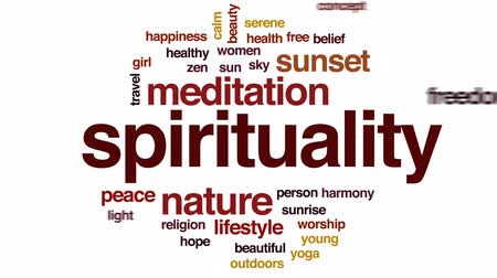 the belief : Spirituality animated word cloud, text design animation. Stock Footage