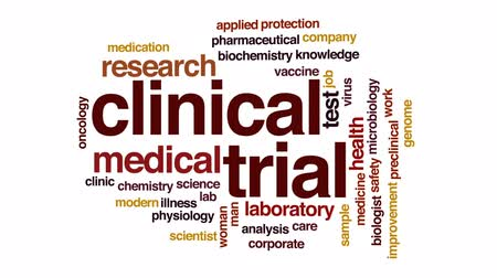 fisiologia : Clinical trial animated word cloud, text design animation. Vídeos