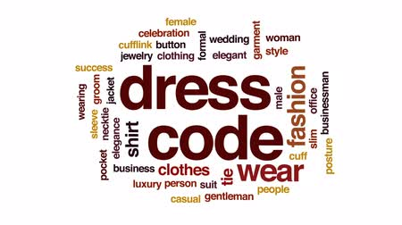 Dress code animated word cloud, text design animation.