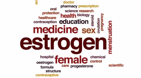 seks : Estrogen animated word cloud, text design animation. Stok Video