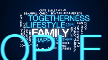 omzunda : Family animated word cloud, text design animation. Stok Video