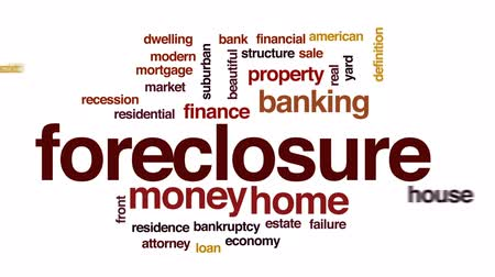 housing problems : Foreclosure animated word cloud, text design animation.