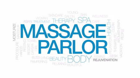 mimos : Massage parlor animated word cloud, text design animation. Kinetic typography.