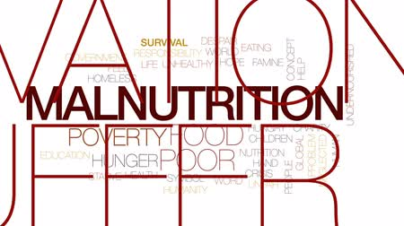 neglected : Malnutrition animated word cloud, text design animation. Kinetic typography.