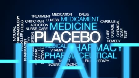 farmacologia : Placebo animated word cloud, text design animation. Stock Footage