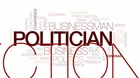 election campaign : Politician animated word cloud, text design animation. Kinetic typography.