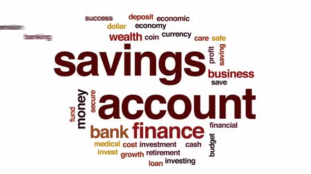 щит : Savings account animated word cloud, text design animation. Стоковые видеозаписи