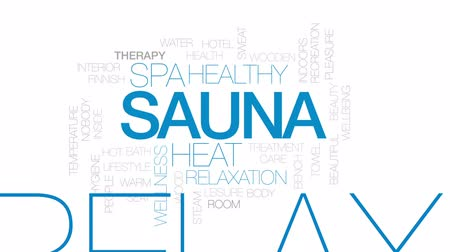 Sauna animated word cloud, text design animation. Kinetic typography.