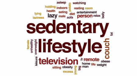 obesidade : Sedentary lifestyle animated word cloud, text design animation.