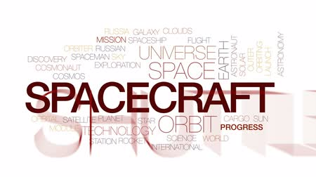 orbital : Spacecraft animated word cloud, text design animation. Kinetic typography.