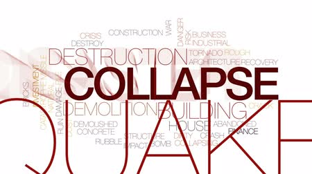 Collapse animated word cloud, text design animation. Kinetic typography.