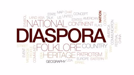 földrajz : Diaspora animated word cloud, text design animation. Kinetic typography. Stock mozgókép