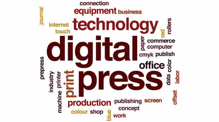 ofset : Digital press animated word cloud, text design animation.