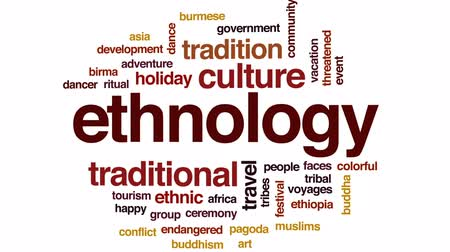 kmenový : Ethnology animated word cloud, text design animation.
