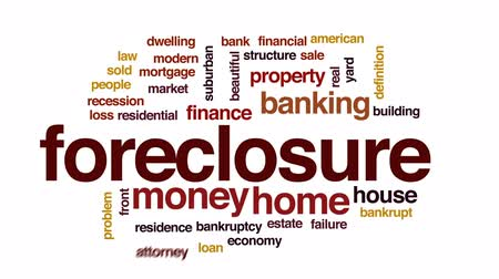 рецессия : Foreclosure animated word cloud, text design animation.