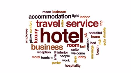 отель : Hotel animated word cloud, text design animation. Стоковые видеозаписи